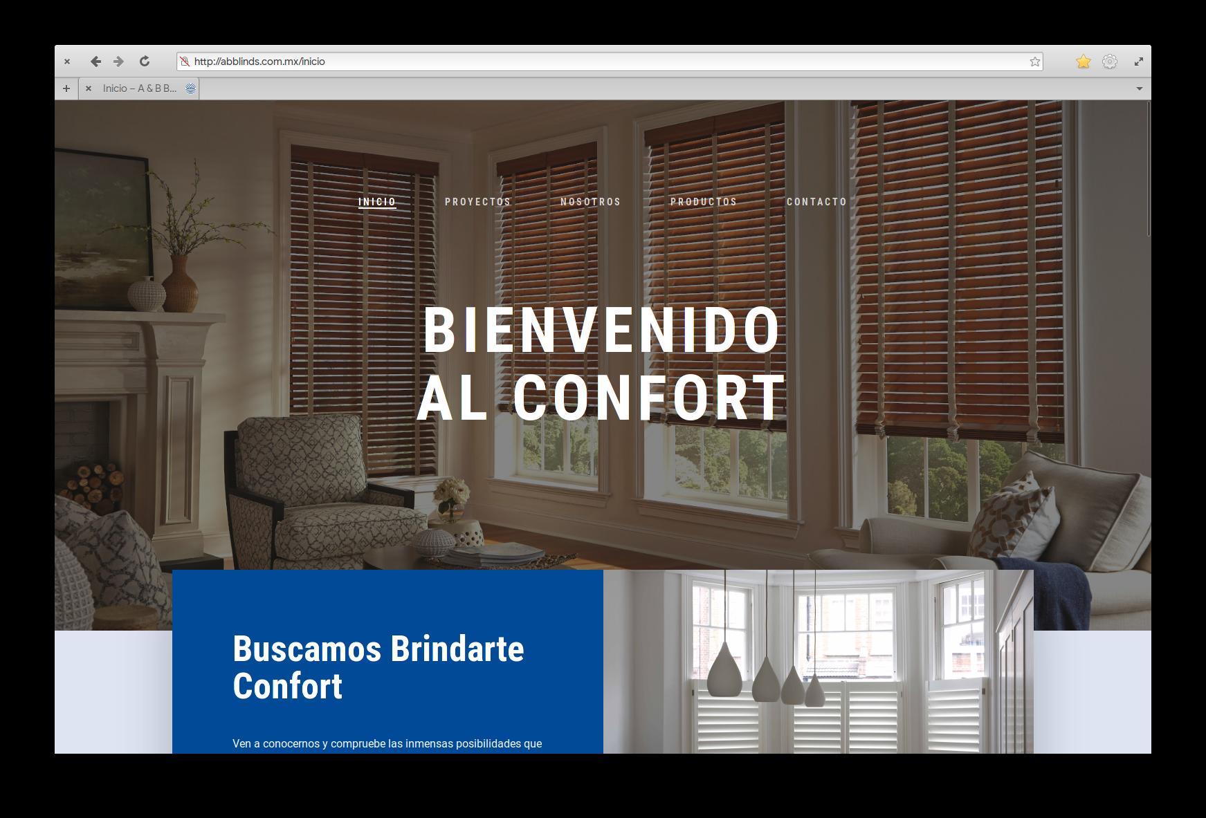 Sitio Web A&B Blinds