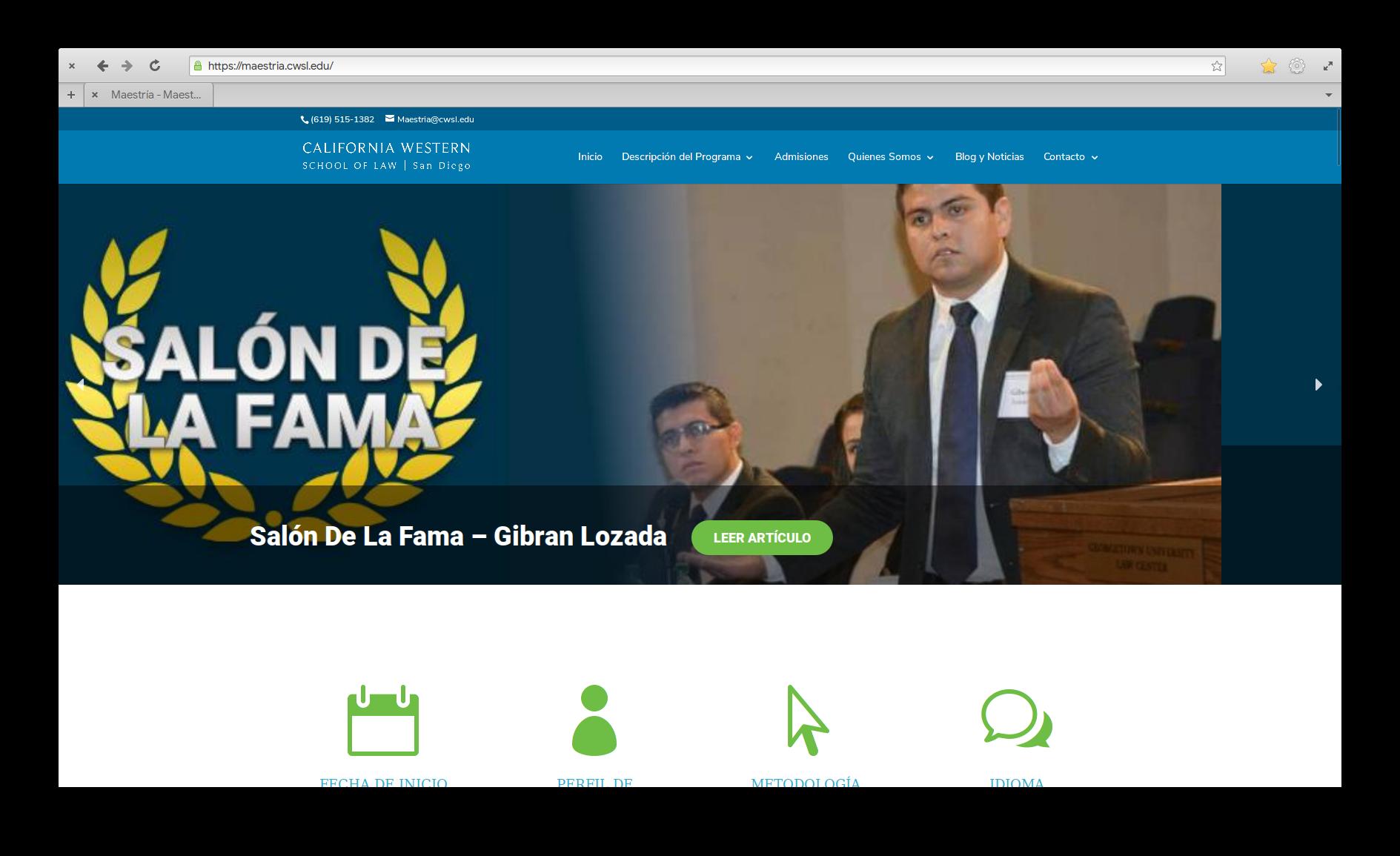 Rediseño Sitio Web – Maestría en Litigación
